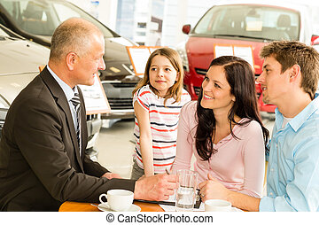 Car dealer and couple doing paperwork - Car salesman and...