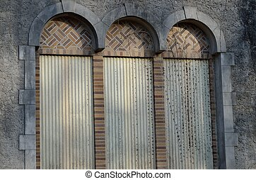 Multiple textures in exterior arche - Old building's brick...