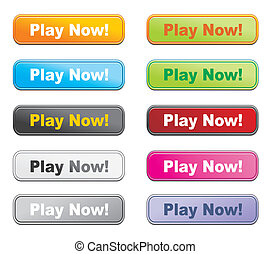 colorful buttons - play now - suitable for user interface