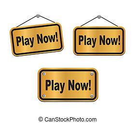 play now - bronze signs - suitable for user interface