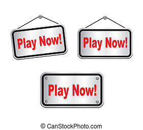 play now - silver signs - suitable for user interface