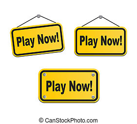 play now - yellow signs - suitable for user interface