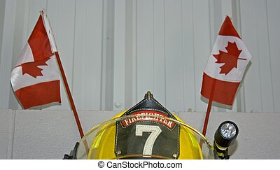 Helmet - Firemans helmet on display in Norwich, Ontario,...