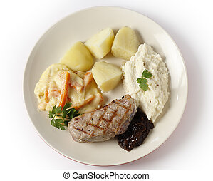 Veal steak with gourmet vegetables from above - Veal sirloin...
