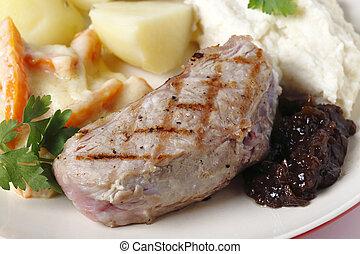 Veal steak with gourmet vegetables, - Veal sirloin steak...
