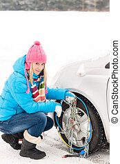 Snow tire chains winter car woman trouble - Snow tire chains...