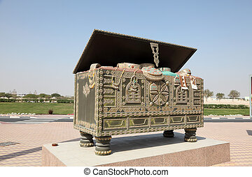 Traditional arabian chest as a monument in Doha, Qatar