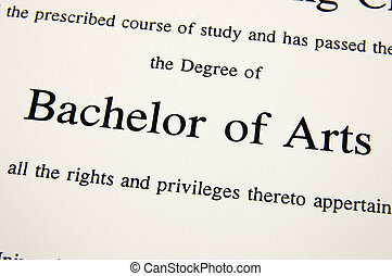 Bachelor of Arts degree - Close up of Bachelor of Arts...