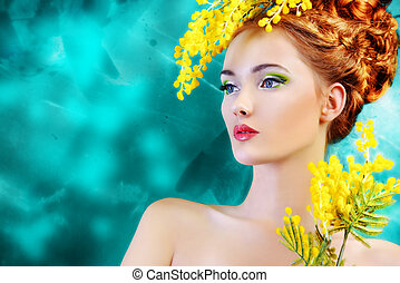 yellow mimosa - Portrait of a beautiful girl with mimosa...