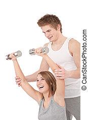 kvinna,  -, ung, Vikter,  fitness, instruktör, Lyftande