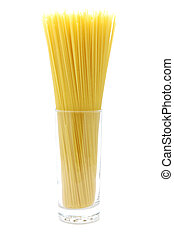 Uncooked spaghetti in glass, isolated white background