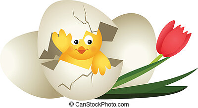 Easter egg chicken and tulip - Scalable vectorial image...
