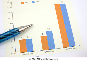 Bar chart with pen - Close up of bar chart with a pen