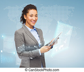 smiling woman looking at tablet pc - business, internet and...