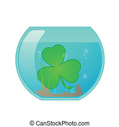 Fishbowl with clover icon - Illustration of an isolated...