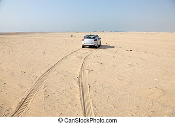 Car in the desert of Qatar, Middle East