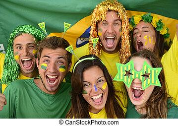 roup of Brazilian sport soccer fans