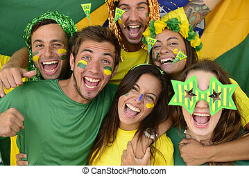 Group of Brazilian soccer fans - Happy group of Brazilian...