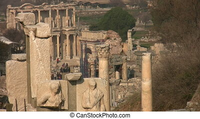 Ancient city Ephesus - 6 Feb 2014 Group of tourists visiting...