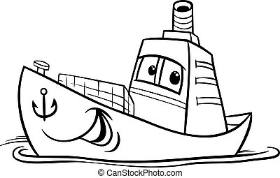 container ship cartoon coloring page - Black and White...