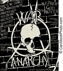 War and anarchy poster, abstract grunge background