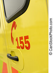 Rescue team's telephone number yellow ambulance car - Rescue...