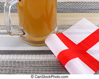 glass of beer with england flag