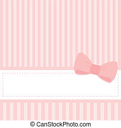 Vector card or pink bow invitation - Vector card or...