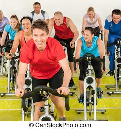 condición física, instructor, Girar, clase