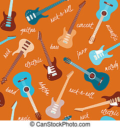 Seamless pattern with guitars and text