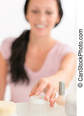 Beauty nail care product close-up woman hand - Close-up...