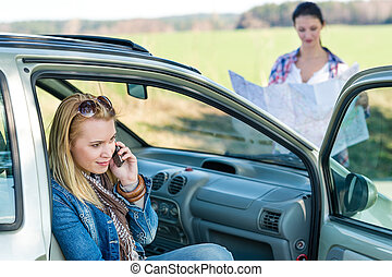 Lost with car two women call help - Lost with car two young...