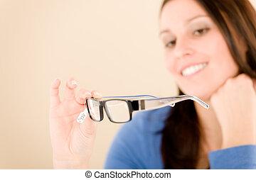 Optician client choose prescription glasses - Portrait of...