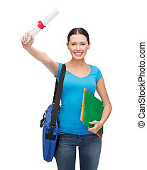 smiling student with bag, folders and diploma - education...