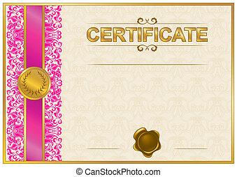 elegante, plantilla, certificado, Diploma