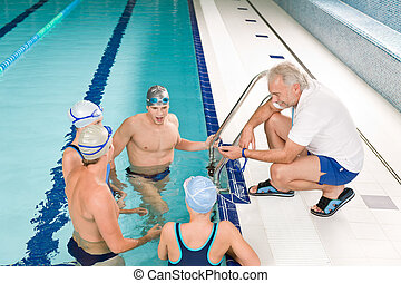 Pool coach - swimmer training competition - Swimming pool -...