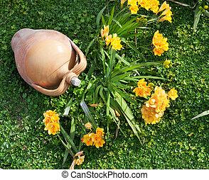 Beautiful yellow freesia in the garden