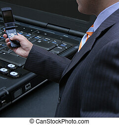 Businessman testing a connection