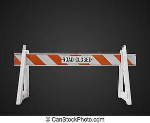 road closed sign on a black background