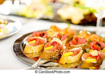 備辦, canapes, 托盤, 食物, 細節, 開胃菜