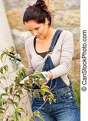 Young woman pruning bush garden clippers backyard hobby...
