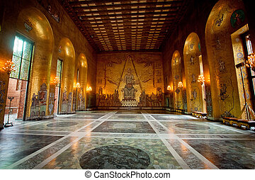 Interior of Golden Hall of the Stockholm City Hall, Sweden