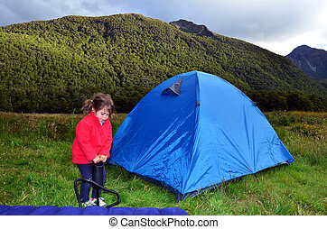 Family camping  - Child camping in the nature.
