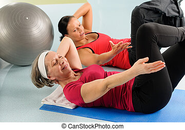 Fitness center senior woman exercise gym workout - Fitness...