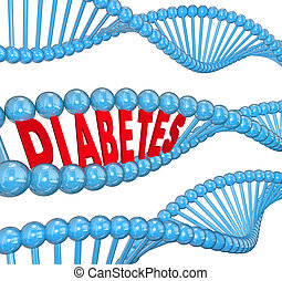 Diabetes Word DNA Strand Hereditary Blood Disease Biology -...