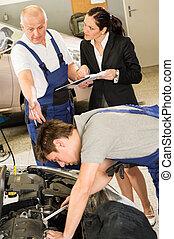 klient, Wóz, pokaz, przewrócić, mechanik, Papiery