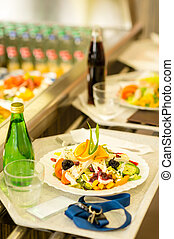 Canteen serving tray healthy food fresh salad - Canteen...