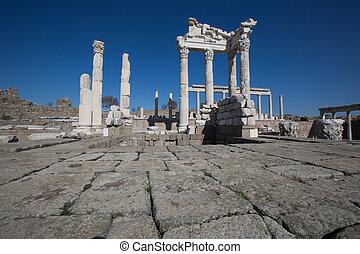 ruins Pergamon Akropolis - old ruins temple of Akropolis...