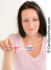 Toothbrush with toothpaste close-up teeth hygiene - Close-up...