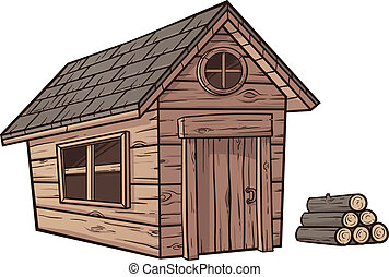 Wooden cabin - Cartoon wooden cabin Vector clip art...